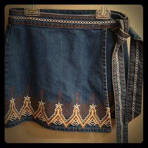 Free People Denim Tribal Skirt